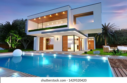 3D rendering of a beautiful modern house with swimming pool and night light