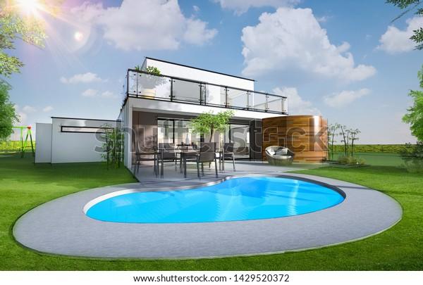 3d Rendering Beautiful Modern House Swimming Stock Illustration 1429520372