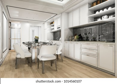 3d rendering beautiful modern white kitchen and dining room
