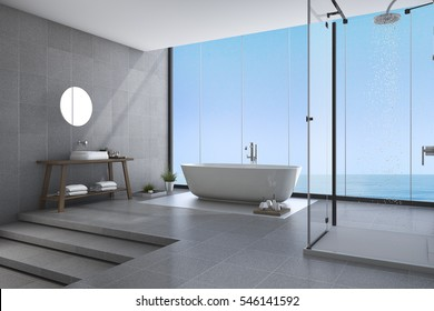 3d rendering beautiful steps modern bathroom near sea view