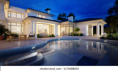 3d rendering beautiful villa with swimming pool with nocturn view