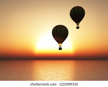 3D rendering of a beautiful warm sunset with two hot air balloons in silhouette.