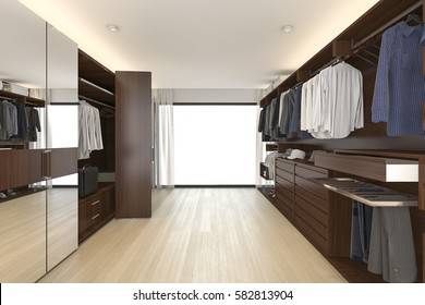3d rendering beautiful wood horizontal wardrobe and walk in closet near window