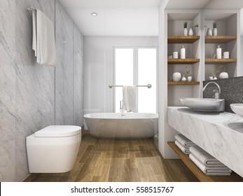 3d render gỗ đẹp và nhà vệ sinh bằng đá cẩm thạch và phòng tắm với xây dựng