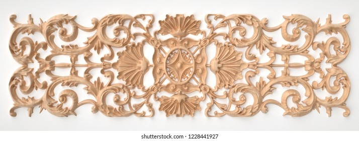 3d rendering beautiful wooden relief isolated on white. carving decoration of architecture. classic interior detail made of wood.