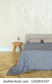 3D rendering of a bedroom with a bed and bedside table