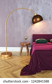 3D rendering of a bedroom with a bed, a bedside table and a lamp