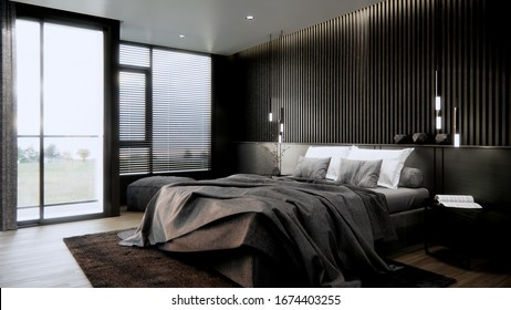 3d rendering bedroom interior with dark black and grey style. black headboard and wooden floor with glass window.