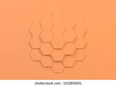 3D rendering of beehive honeycomb yellow abstract background. Hexagon pattern bright and funky great for power point presentation for trends or kids brand.
