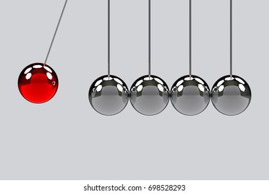 3d rendering. before hitting of red ball to another pendulum group. One force effect to all concept