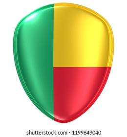 3d rendering of a Benin flag icon on white background.