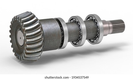 3D rendering of a bevel gear with ball bearings on the shaft