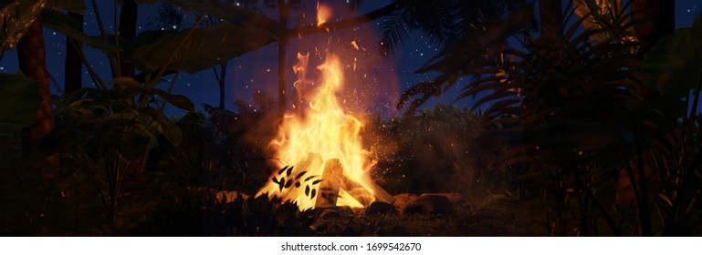 3d rendering of big bonfire with sparks in the jungle forest at the night