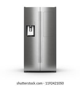 3d rendering big fridge on a white background