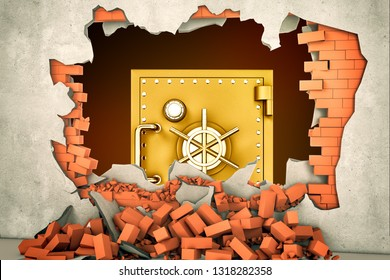 3d rendering of a big golden safe seen through a huge hole in a plastered brick wall. Banking and finance. Earn money. Become rich.