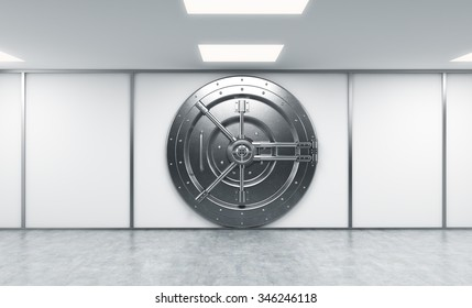 3D rendering of a big locked round metal safe in a bank depository,  a concept of security,  front view