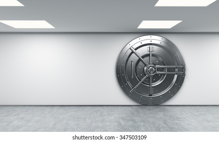3D rendering of a big locked round metal safe in a bank depository,  a concept of security,  front view, right-centered