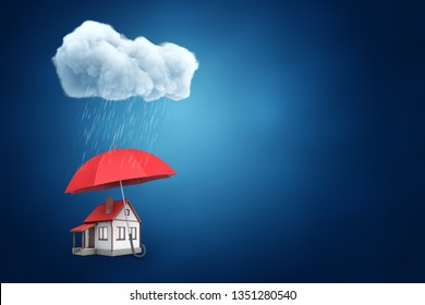 3d rendering of a big red umbrella protecting a little detached house from the thick raining cloud on blue background with a lot of copy space. My home is my castle. Help in trouble. Housing issues.