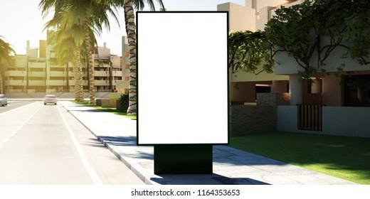 3d rendering of billboard mockup on suburbs