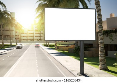 3d rendering billboard mockup on street
