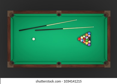 3d rendering of a billiards table with two cue sticks and a rack with balls in top view. Leisure and recreation. Billiard room. Game furniture and equipment.