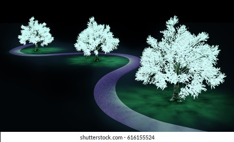 3D rendering of bioluminescent trees lighting up a street
