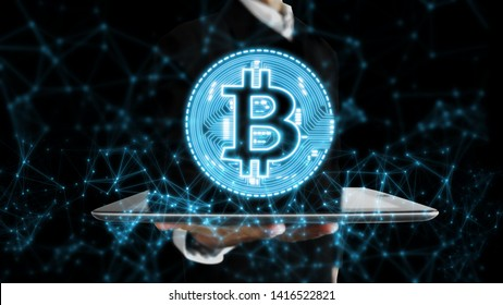 3D rendering of Bitcoin (BTC) glowing hologram and network dots and lines over tablet in palm of business man. For crypto currency market, token exchange promoting, advertising purpose, news headline
