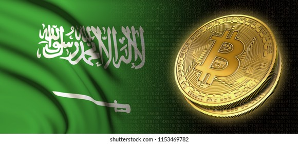 3D rendering: Bitcoin cryptocurrency coin with the national flag of Saudi Arabia, on a black background
