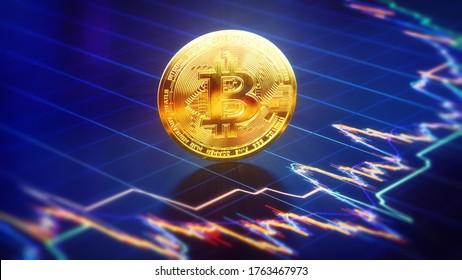 3D Rendering of Bitcoin - Financial Concept
