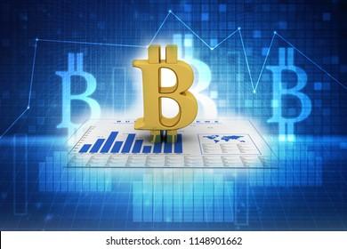 3d rendering bitcoin sign