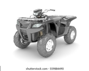 3D rendering of a black atv four-wheel drive motorcycle on a white background.