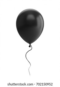 3D Rendering black Balloon Isolated on white Background