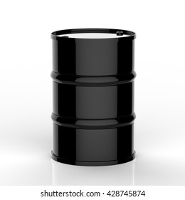 3d rendering black barrel on white background