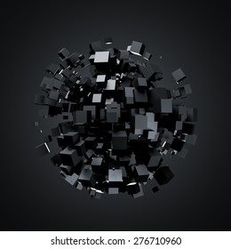 3D rendering of black cubes. Sci-fi background. Abstract sphere in empty space. Futuristic shape.