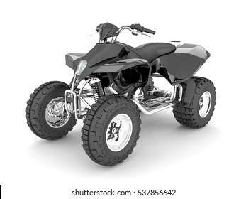 3D rendering of a black four wheel motorcycle on a white background.
