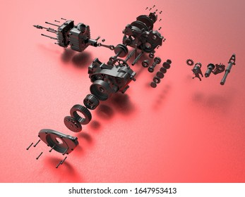 3D rendering - black gear box exploded view components