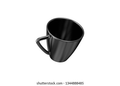 3d rendering of black glossy coffee mug mockup template blank and empty, isolated on white background.