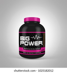 3d rendering of a black jar of sports nutrition on a white background
