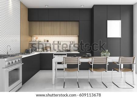 Royalty Free Stock Illustration Of 3 D Rendering Black Kitchen Wood