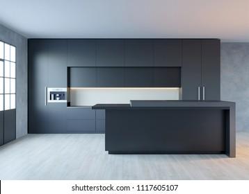 3d rendering of black matte hi-tech kitchen in loft interior