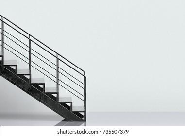 3d rendering. Black metal design stair on gray room wall background.