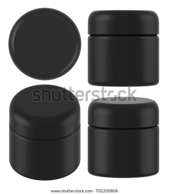 3D rendering black plastic cosmetic jar for cream, butter, scrub, gel, powder, wax. Realistic packaging mock up template