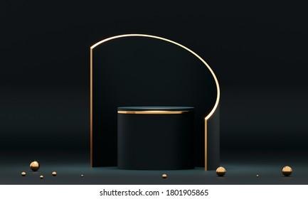 3D rendering black podium geometry with gold elements. Product presentation blank podium. Minimal scene round step floor abstract composition. Empty showcase, pedestal platform display