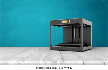 3d rendering of black 3d printer standing on a white wooden table on the sea blue background. Modern technologies. Creating products of plastics.