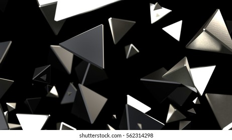 3d rendering black and silver piramid