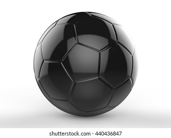 3d rendering black soccer ball