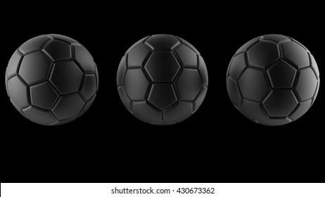 3D Rendering Black soccer balls. 3D illustration. 3D CG. Format 16:9.