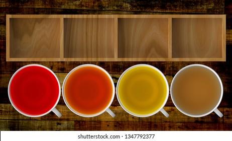 The 3d rendering of  Black tea, green tea, fruit tea cups, tea assortment boxe