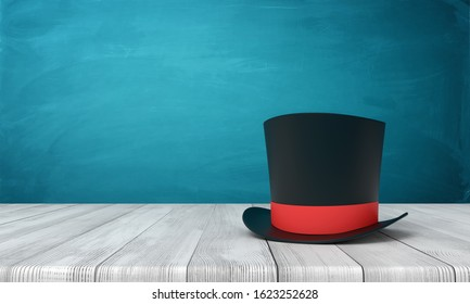 3d rendering of black tophat with red ribbon standing on wooden table near blue wall with copy space. Elitism and snobbery. Magic tricks. It's showtime