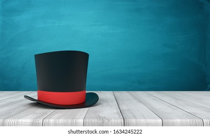 3d rendering of black tophat with red ribbon standing on wooden table near blue wall with copy space. Elitism and snobbery. Magic tricks. It's showtime.